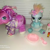 Интерактивные пони от Hasbro, оригинал. Издают звуки. +бутылочка, тарелка, ложка