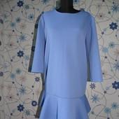 Повседневное платье трапеция с юбкой воланом из фактурной ткани Турция