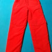 Ярко-красные теплые штаны, разм. 128 (8 лет). Сост. отличное!