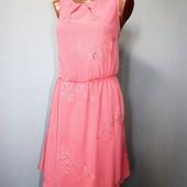 Качество! Нежное платье/шифон на подкладке/вышивка и перфорация, от New Look, в новом состоянии