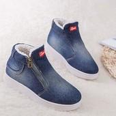 Теплые ботинки джинс на меху sports (унисекс) на р. 42-43