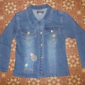 Джинсовый пиджак для девочки р. 122-128