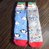 Женские махровые носки Пингвины, снеговики, в лоте 2 шт