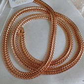 супер! шикарная широкая цепочка, оригинальное плетение 50 см, позолота 585 пробы