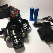 Налобный фонарь headlight,налобный фонарик с доп. фонарями, аккумуляторный , 3 режима, 8 положений