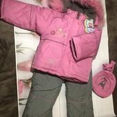 Зимний комплект KIKQ (куртка+брюки-полукомбинезон+рюкзак) для девочки.