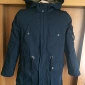 Куртка. парка, внутри шерра, снимается, деми, размер 9 лет 134 см, Zara. состояние отличное