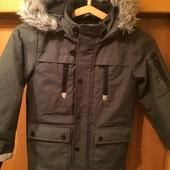 Куртка. еврозима, внутри флис, размер 7-8 лет 128 см, Rebel by Primark. состояние отличное