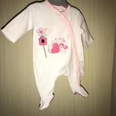 Велюровый слип на возраст 0-2 месяцев