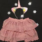 Розовая юбочка гипюровая рост 104