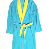 """Батал """"One size"""" Теплющий флісовий халат в національних жовто-блакитних тонах. Стан нового. Унісекс"""