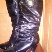 Акция!!!! Все от 10 грн!!!! Мягусенькие высокие кожаные сапожки с густым мехом внутри