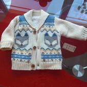 Nutmeg теплая меховая кофта кардиган куртка 3-6 м 62-68см демисезон новая