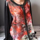 рубашка, блуза большого размера, 61-62 см пог, отличное качество! красивый рисунок