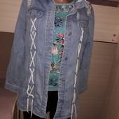 Крутая джинсовая удлинённая куртка. Джинс плотный. Турция.