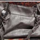 Женская серебряная сумка натуральная кожа