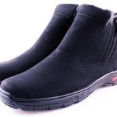 Зимние черные термо ботинки- Львов, две молнии по бокам. Качество