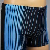 Шортики для плавания чёрные с голубыми полосками, мальчику на 3-5 лет. Последние