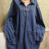 Собираем лоты!! Джинсовая рубашка - куртка на пышную красу, размер 54/56