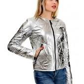 Шикарные курточка бомбер в серебре. 46 р. Шикарное качество и дизайн.