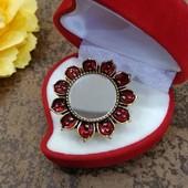 Кольцо цветок с Зеркалом.Стильное и оригинальное.Готовимся к Новому году. Много лотов.