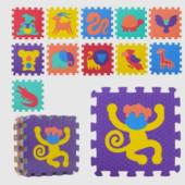 Детский коврик мозаика из 12 деталей Животные