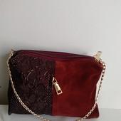 Стильна сумочка,вставка з натуральної замші