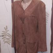 Легкий мягкий замшевый пиджак, тренч, р.38,100% кожа