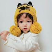Теплющая Шапочка ,,Кошечка,,для девочки, зима. цвет фото 2!
