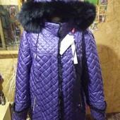 Шикарная темно сиренивая с отделкой норки куртка новая. Не сток. Welly. 3xl,4xl.