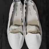 Белые коттоновые мокасины от New Look,39p-25 см