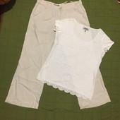 #171 лён штаны и милая футболка! Летний лот!