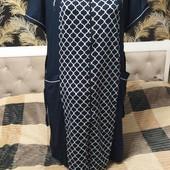 Женский халат из хлопка с эластаном р. 5xl, полномерный