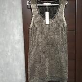 Фирменное новое красивое вязанное платье с золотистой ниткой р.12-14