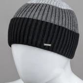 """Мужская шапка """"Short"""" черная с серым"""