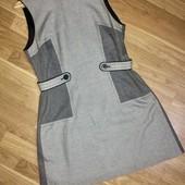 Комбинированное платье сарафан серо чёрное миди футляр карандаш в мелкую клетку Next