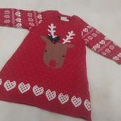 Яркое трикотажное теплое новогоднее платье для девочки 0-3 месяца
