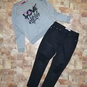 Стильный комплект Костюм Джинсы штаны брюки Свитшот реглан кофта худи толстовка батник