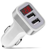 Зарядное устройство 2.1A USBx2 с вольтметром в прикуриватель