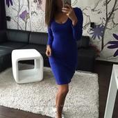 Синее платье в идеале 46р, м-л. фото, замеры. на средний рост