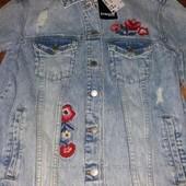 Куртка крутяжка джинсовая с вышивкой 38 pp германия