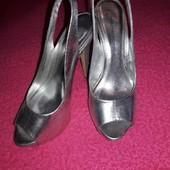 Серебристые босоножки на высоком каблуке, dorothy perkins, размер 37