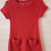 Вязаное платье на 4-5 лет с пайетками