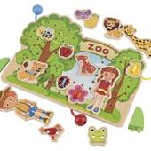 Playtive качественная яркая деревянная шнуровка Zoo 32 элемента