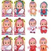 Пупс Cry Babies 8371 (144/2) 6 видов, бутылочка, пустышка, говорит мама-папа,плачет,смеется, в короб