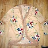 Яркая кофта, накидка в цветы, размер С_М