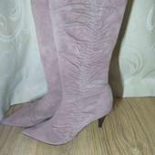 нежные элегантные пудрово-розовые сапоги. 26 см