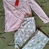 Нежно-розовая пижама в сердечки,размер S M,нюанс.