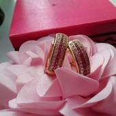 Серьги позолота 18К! Белые и розовые камни, красивые, большие!