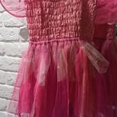 Платье феи розовое, жатка на брителях